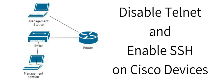 how to disable telnet and enable ssh on cisco routers and switches