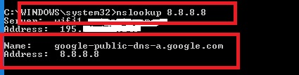 reverse dns with nslookup